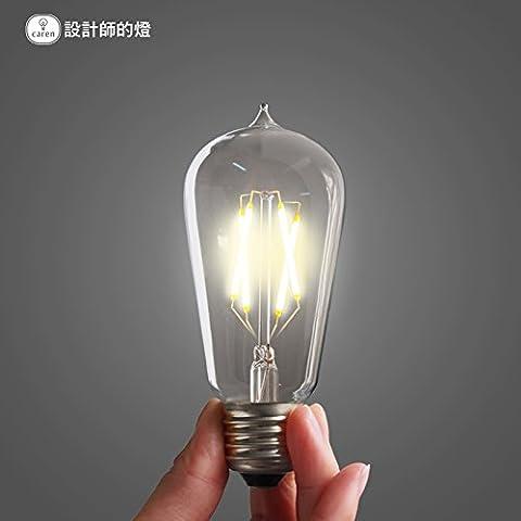 Dngy*Nero di Seppia E27 Lampada a risparmio energetico a spirale ad incandescenza 4W alta fonte singola lampada LED lampadina a filamento E27 lampada 10 pack insieme offrono ,2W caldo giallo ,E27 lampadina