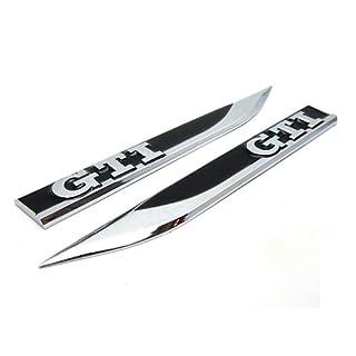 Aurnoc 2Metall Flügel Seite Fender Badge Emblem für VW GTI Golf 76MK5MK6MK7Polo (schwarz/rot/blau) (schwarz)