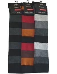 VCA - Lot de 3 paires de mi-bas - rayures larges style color-block - coton - femme