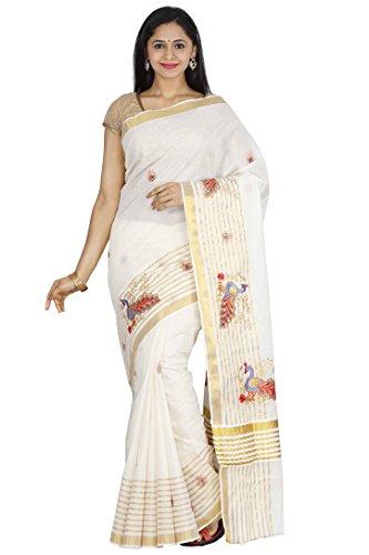 JISB stripe zari Peacock Embroidered kerala kasavu saree with running Blouse
