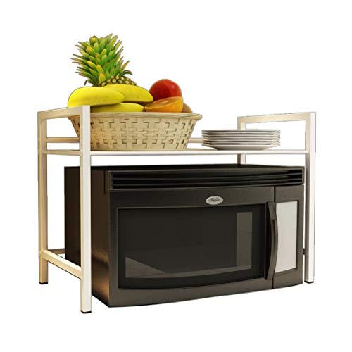 Kitchen furniture - Étagère de stockage d'ustensiles de cuisine à la mode à la mode simple de support de four à micro-ondes de double couche de ménage WXP (Couleur : Blanc, taille : 50X35X50CM)