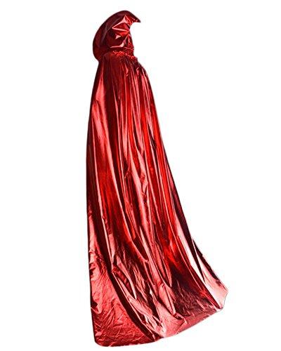 Halloween Party Kapuzen Umhang, Hexe Karneval Fasching Kostüm Cape mit Kapuze Vampir Kostüm Rot