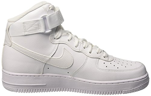 Nike Air Force 1 High '07, Chaussures de Sport-Basketball Homme, Bleu Blanc Cassé - Blanco (White / White)