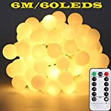 6M 60LED Globe Fairy String Light Waterproof Light String with Remote & 8 Modes Controller for Indoor, Outdoor, Party, Garden, Wedding, Christmas, Pathway etc.(Warm White)