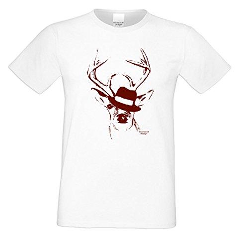 Witziges-Herren-Sprüche-Fun-T-Shirt Witziges Volksfest Oktoberfest Party Outfit Motiv Hirsch mit Hut auch in Übergrößen Farbe: weiss Weiß