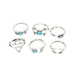 YAZILIND Womens 6Pcs Turquoise Above Knuckle Ring Mid Finger Tip Stack Rings Set