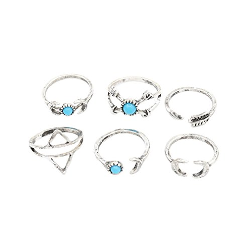 - 41eaSKljqvL - Yazilind Womens 6Pcs Turquoise Above Knuckle Ring Mid Finger Tip Stack Rings Set