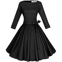 ANGVNS Vestido vintage de estilo parisino ladylike años 50 con falda de vuelo y lazo para mujer