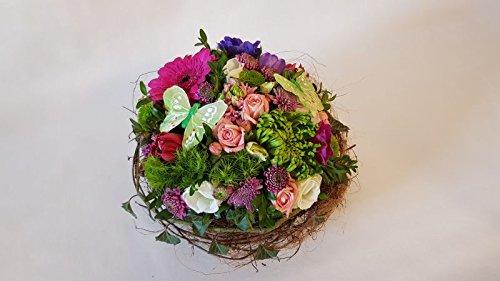 frisches Blumengesteck -Blütenmeer Blumen frisch gesteckt in Rosa Pink auf Ranken mit Schmetterli Blumenpreis 25 Euro