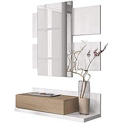 Recibidor con cajón y Espejo, Mueble de Entrada Modelo Tekkan Acabado en Roble Canadian - Blanco Artik, Medidas: 75 cm (Ancho) x 116 cm (Alto) x 29 cm (Fondo)