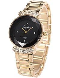 SIBOSUN Lady Women Wrist Watch Quartz Gold Stainless Steel Crystal Black Dial Dress Fashion Bracelet