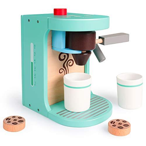 Rolimate Kaffeemaschine Spielzeug aus Holz, Kinder Rollenspiele Spielzeugküche Zubehör, inkl. Kaffeemaschine 2 Tassen 3 Kaffeepad und 1 Siebträger, Montessori Spielzeug Geburtstagsgeschenk ab 3 Jahren