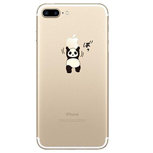 iPhone 7 Plus Hülle, Qissy®Cute panda series Transparent Weiche Silikon Schutzhülle mit Niedlich Muster für Apple iPhone 7 plus 9