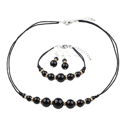 Treasurebay 6–16mm agata nera pietra preziosa collana, bracciale e orecchini set, presentato in una bella confezione regalo
