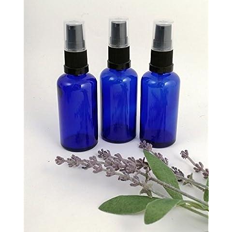 Boccette di vetro blu da 50ml con pompetta nera - per aromaterapia, massaggi, lavori creativi, cosmetici (3 pezzi)