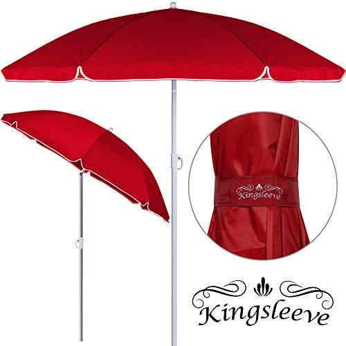 Kingsleeve - Parasol inclinable - Parasol de Plage • Rouge • Réglable • Hydrofuge • 180 cm - Plage Pique-Nique Jardin Terrasse Pare-Soleil