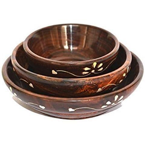 Cuencos de madera - juego de 3 de cerezo oscuro, sirviendo sopa de ensalada, ensaladeras, frutas cuencos, platos de sopa, tazones de cocina, regalo para el cumpleaños o la