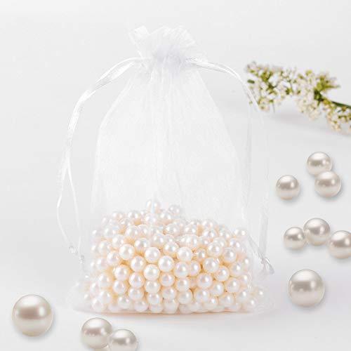 Fushing Organza-Beutel mit Kordelzug, 10 x 15 cm, für Schmuck, Hochzeit, Party, Weihnachtsgeschenk, Geschenktäschchen, 100 Stück, Organza, weiß, 10x15cm