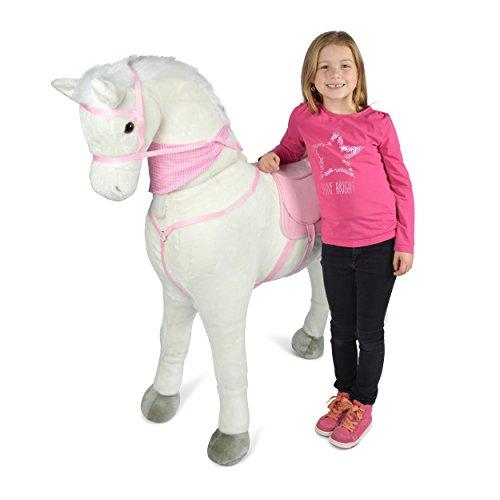 esen XXL Kinderpferd, Luna, 125 cm Plüsch-Pferd zum reiten, Fast lebensgroßes Spielzeug Pferd zum Drauf sitzen, bis 100kg belastbar, mit verschiedenen Sounds, inkl. Kleiner Bürste ()