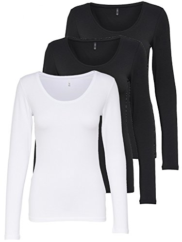 ONLY 3er Pack Damen Langarmshirt schwarz und weiß Langarm Basic Longsleeve Sommer aus 95% Baumwolle XS S M L XL 15209156 (3er Pack Farb Mix 1, XL)