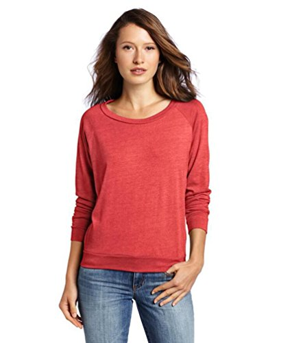 YouPue Femmes Manches Longues T-shirt Rond Col Pullover Tricot Pull-over En Vrac Blouse T-shirt Tops Taille S-XL Rouge