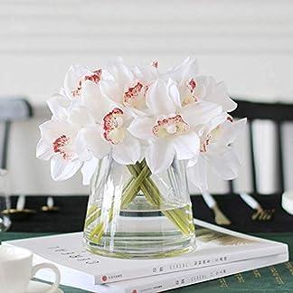 QYYDGH Retro Elegante Hermosa Orquídea Blanca Flores Artificiales Real Touch Flor Cymbidium Mano Nupcial Ramo de Flores de La Boda Decoración para Mesa Arreglo