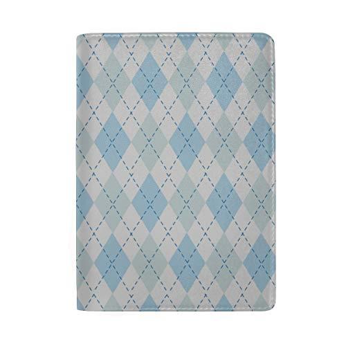 Blue Lozenge Checkered Blocking Print Passinhabers Hülle Reisegepäck Passport Wallet Kartenhalter Aus Leder Für Männer Frauen Kinder Familie