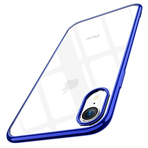Joyguard iPhone XR Hülle, iPhone XR Hülle Durchsichtig Weiche Silikon Plating Überzug TPU Bumper Ultra Slim Kratzfest Schutz für iPhone XR Hülle Transparent - 6.1 Zoll - Blau