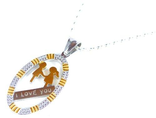 Pärchenkette Silber Kette mit Anhänger in schöner Geschenkverpackung GOLDEN LOVE SW1