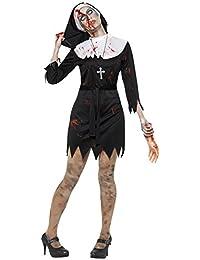 Damen Erwachsene Kostüm Halloween Party Zombie Blutiges Mary Nonne Schwester Kostüm