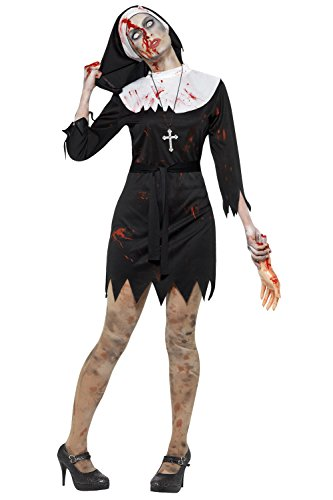 Damen Erwachsene Kostüm Halloween Party Zombie Blutiges Mary Nonne Schwester Kostüm - Schwarz, 44-46