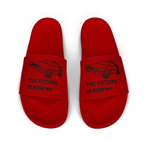licaso iD Lette Badelatsche mit The Future is Now Sportwagen Print I rutschfeste Sohle in ROT I Gr. 39 Schuhe I Badeschlappen Bedruckt Unisex I Männer Hausschuhe Frauen Sandalen I 1 Paar Badeschuhe