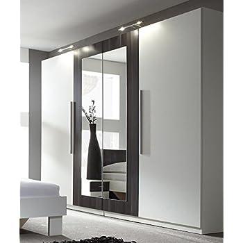Kleiderschrank schrank 54027 4 t rig mit spiegel wei for Design esstisch expo weiss ausziehbar 137 180 cm