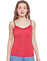 CAMEY Women's Girl's Cotton Spaghetti Tank Padded Top Slips Under Dress (GS02_RED)