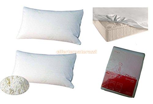 COPPIA di cuscini guanciali fiocco di memory foam saponetta + Coprirete + Coprimaterasso matrimoniale