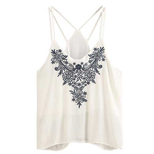 BA Zha Hei New Mode Frauen Tank Tops Blumen Bestickt Strappy Cami Top Transparent Mesh Clubwear Damen Sommer Loose Fit Kurzarm V-Ausschnitt Festliche Blusen mit BLUS Tunika Tops (Weiß, XL) (Top Tank Blu-baumwolle)