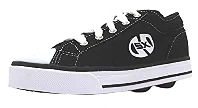Size 13 Kid's Jazzy Heelys Black And White Two Wheel Canvas Trainers