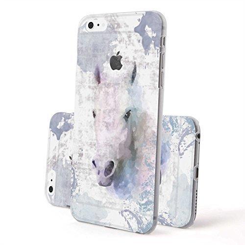 FINOO ® | Iphone 6 / 6S Hardcase Handy-Hülle | Transparente Hart-Back Cover Schale mit Motiv Muster | Tasche Case mit Ultra Slim Rundum-schutz | stoßfestes dünnes Bumper Etui | Wolf Pferd