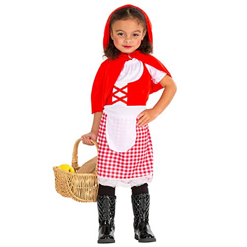 Süßes Kinder Rotkäppchen Mädchen Kostüm Kleid mit abnehmbarem Kapuzen-Cape (5-7 Jahre | Nr. 300013) ()