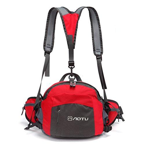 Chlove Unisex Taille Tasche Nylon Rucksack Wasserdichte Multifunktion Hüfttasche mit Schultergurtel Rot