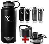 Trinkflasche ACTIVE FLASK Isolierflasche + 3 Trinkverschlüsse | BPA frei - 1l / 0,5 Liter | Vakuum isolierte Edelstahl Thermosflasche | Wasserflasche für Büro, Sport, Schule, Kinder Fahrrad Outdoor