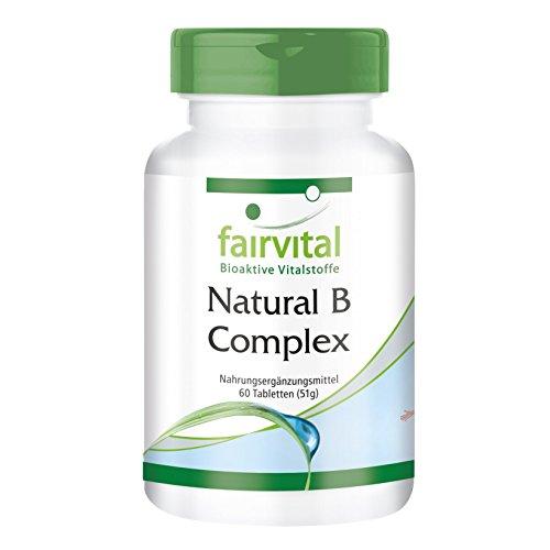 Natural B-Complex aus natürlicher Quelle (Hefe) - VEGAN - 60 Tabletten - mit Cholin und Inositol -