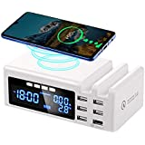 JCOTTON Wireless USB Charger 6-Port 45W 8A Multi USB Fast Charging Station with Quick Charge 3.0, LCD Screen, 2 Phone Docks for iPhone, iPad, Samsung Galaxy, Tablets, Smartphones and Multiple Devices