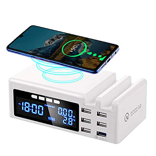 JCOTTON USB Ladegerät Mehrfach 6-Port 45W 8A Multi-Port Ladegeraet mit Quick Charge 3.0, LCD-Anzeige, Fast Qi Wireless Charger Ladestation für iPhone, iPad, Samsung Galaxy, Huawei, Sony, usw (Typ 2) (4s Wireless Charger Iphone)