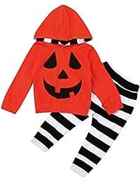 Halloween Disfraces Niño, SMARTLADY Recién nacido Niño Niña Calabaza Camiseta con capucha + Pantalones a rayas Otoño Invierno Ropa