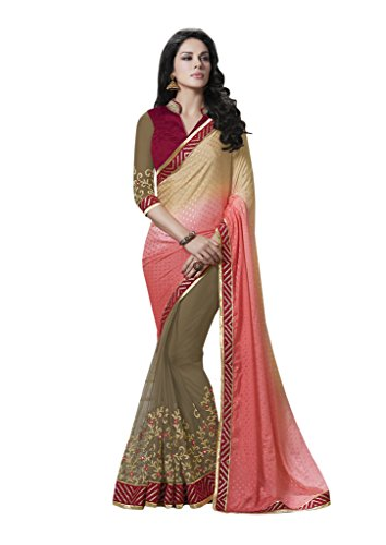 Mahotsav Women''s Beige Chiffon & Net Patch Border Work Partywear Saree With Blouse (8820_Beige)  available at amazon for Rs.2185
