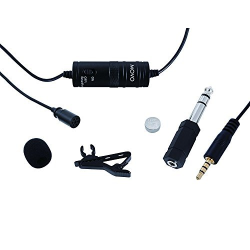 Movo Lavalier Omnidirectional Condenser Microphone with 20′ Cable for Canon VIXIA HF R500 & EOS, MK, Digital Rebel series 41eahaQnS3L