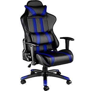 TecTake Silla de oficina ergonomica racing gaming con soporte lumbar – disponible en diferentes colores – (negro gris | no. 402231)