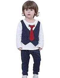 Happy Cherry - Traje de 2 Piezas Caballero Boda Fiesta Chaleco Camisa Cuadros Pantalones con Lazo para Niños - Rojo Gris Negro Azul - 18 meses - 4años