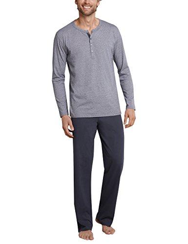 Schiesser Herren Zweiteiliger Schlafanzug Anzug Lang, Grau (Anthrazit 203), Small (Herstellergröße: 048) (Grau Herren-nachtwäsche)